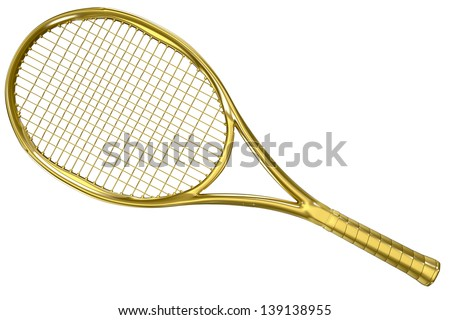 High detailed gold 3D tennis racket isolated on white background - stock photo