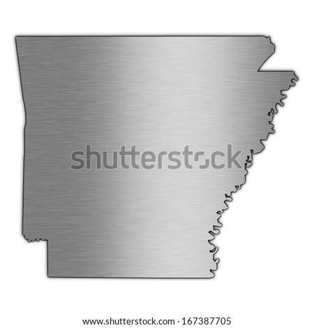 High detailed illustration aluminum map - Arkansas - stock photo