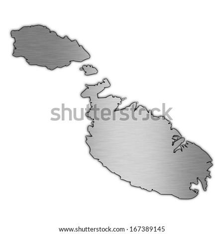 High detailed illustration aluminum map - Malta - stock photo