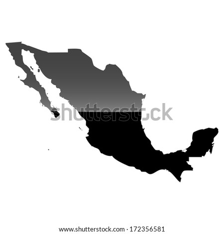 High detailed illustration map with piano effect - Mexico