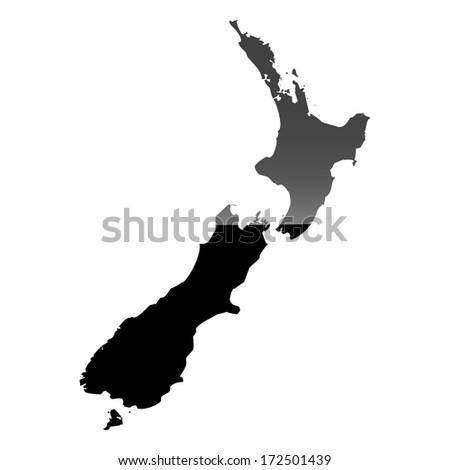 High detailed illustration map with piano effect - New Zealand