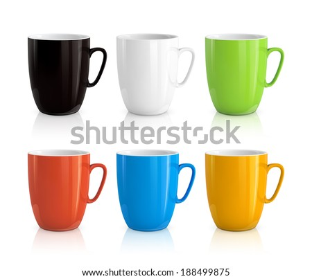 High detailed illustration of colorful cups isolated on white background - stock photo
