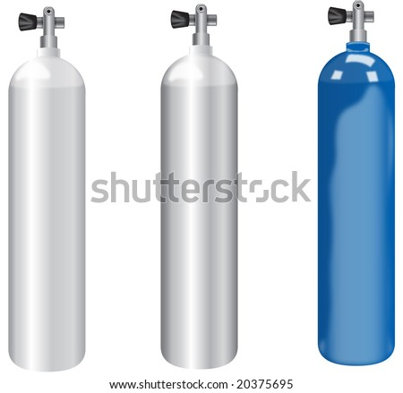 high detailed illustration of three scuba tanks