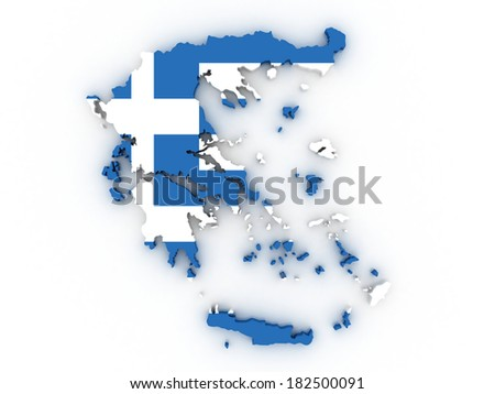 High detailed map Greece with flag 3d - stock photo