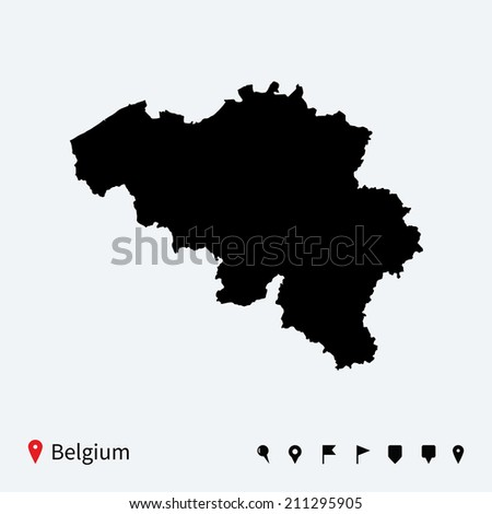 High detailed map of Belgium with navigation pins. - stock photo