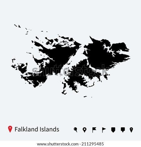 High detailed map of Falkland Islands with navigation pins.