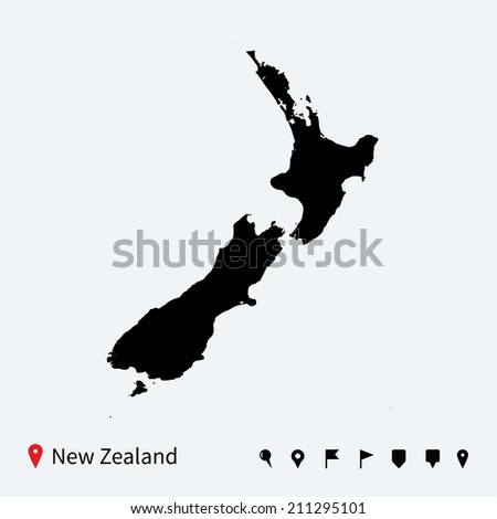 High detailed map of New Zealand with navigation pins.
