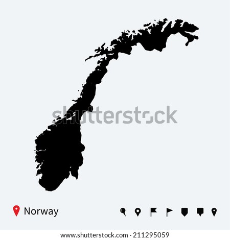 High detailed map of Norway with navigation pins. - stock photo