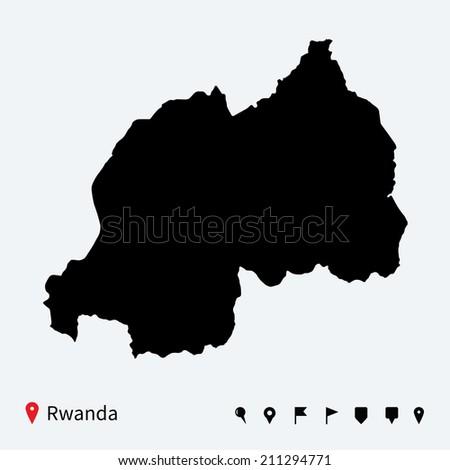 High detailed map of Rwanda with navigation pins. - stock photo