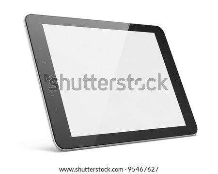 High-detailed modern black tablet pc, 3d render. Tablet computer isolated on white - stock photo