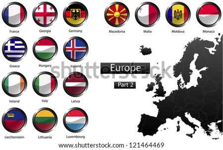 High detailed national flags of European countries, clipped in round shape glossy metal buttons, part 2, raster version