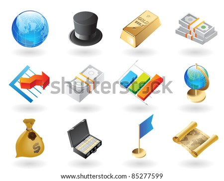 High detailed realistic icons for global finance. Raster version. Vector version is also available. - stock photo
