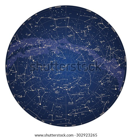 High detailed sky map of Northern hemisphere with names of stars