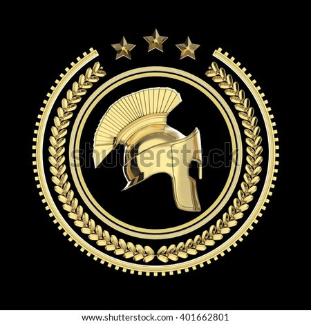 High detailed spartan, roman, greek helmet in laurel wreath badge with rings and stars. sports military fighting badge icon, 3d rendering isolated on black background. - stock photo