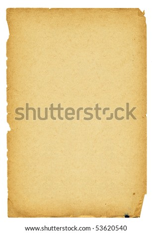 High detailed vintage paper with torn edges isolated on white. - stock photo