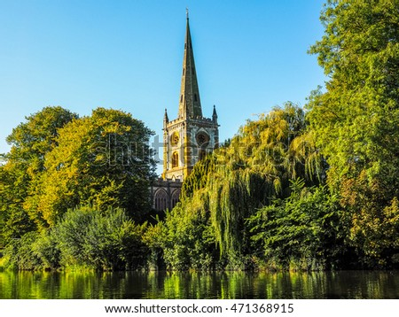 High dynamic range HDR Holy Trinity church seen from River Avon in Stratford upon Avon, UK