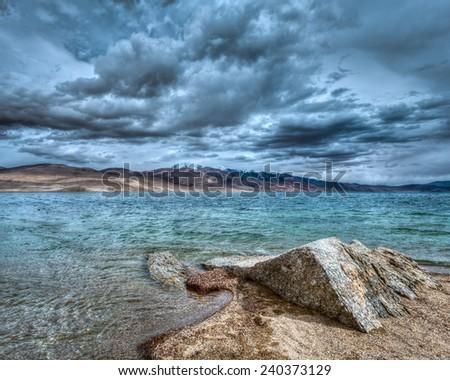 High dynamic range (hdr) image of Himalayan mountain lake in Himalayas Tso Moriri (official name: Tsomoriri Wetland Conservation Reserve), Korzok,  Changthang area, Ladakh, Jammu and Kashmir, India - stock photo