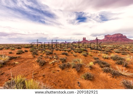 High Dynamic Range (HDR) Image of the Unique and Famous Landscape of Monument Valley, Utah, USA. - stock photo
