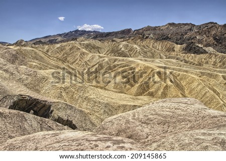 High Dynamic Range (HDR) Image of Zabriskie Point in Death Valley National Park, California - stock photo