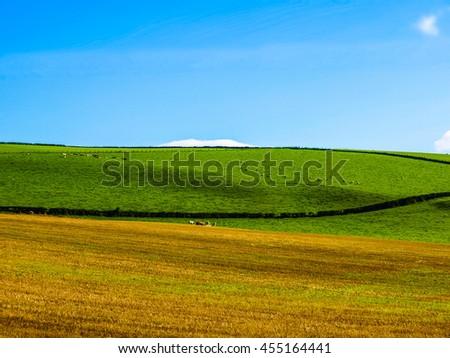 High dynamic range HDR Landscape panorama view of Cardross hills near Glasgow, Scotland - stock photo