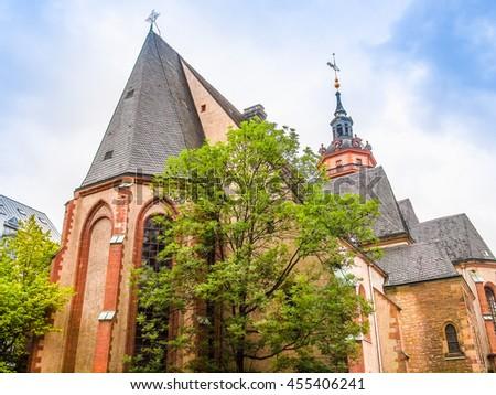High dynamic range HDR Nikolaikirch St Nicholas Church in Leipzig Germany where Johann Sebastian Bach performed the world premiere of St John Passion - stock photo