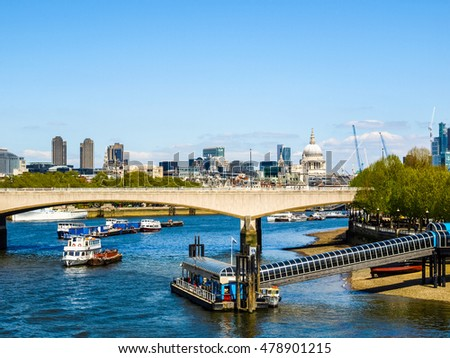 High dynamic range HDR Panoramic view of River Thames, London, UK