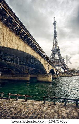 High Dynamic Range (HDR) photo of Eiffel tower and Jena bridge - stock photo