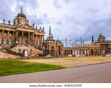 High dynamic range HDR Ruins of the Neues Palais new royal palace in Park Sanssouci in Potsdam Berlin
