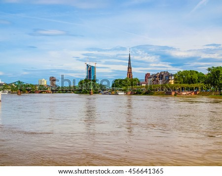 High dynamic range HDR View of city of Frankfurt am Main in Germany from the river - stock photo