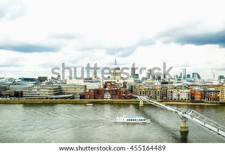 High dynamic range HDR Wide angle view of Saint Paul's Cathedral in the City of London, UK under a typica British rainy weather - stock photo