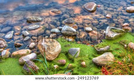 High Dynamic Range image of River Rocks - stock photo