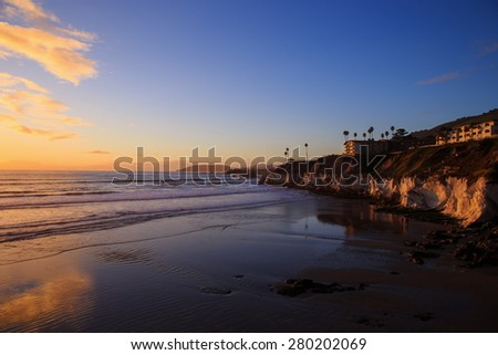 High dynamic range image of Sunset at Pismo beach - stock photo