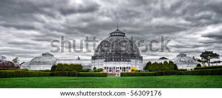 High dynamic range image of the Anna Scripps Whitcomb Conservatory on Belle Isle Island Park in Detroit, Michigan. - stock photo
