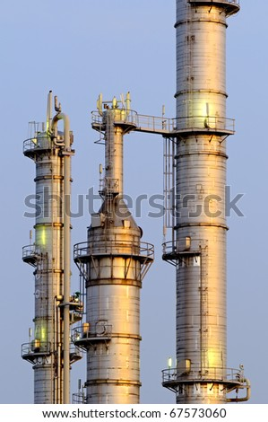 High Dynamic Range impression of a chemical installation in the Port of Rotterdam - stock photo