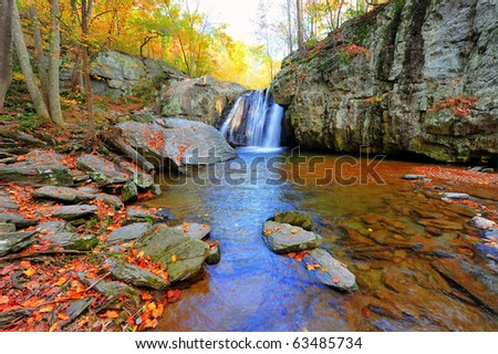 High Dynamic Range landscape photo of Kilgore waterfall on an Autumn day in Maryland - stock photo