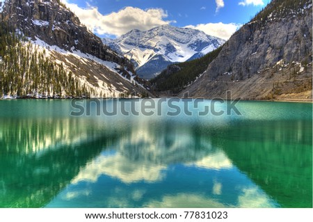 High Dynamic range of a fresh mountain Lake on a clear day - stock photo