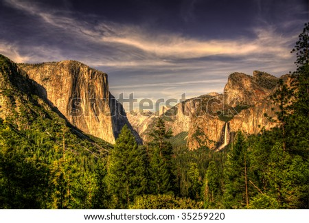 High Dynamic Range of Yosemite Valley from Tunnel View - stock photo
