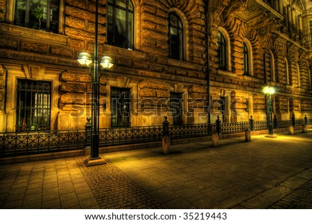 high dynamic range or hdr image of city hall in Hamburg, Germany. architecture at dusk or dawn. (tourist area). - stock photo