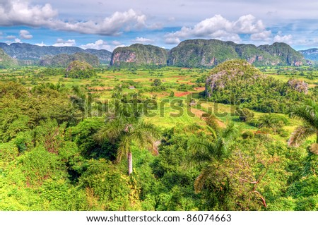 High dynamic range panoramic view The Vinales valley in Cuba - stock photo