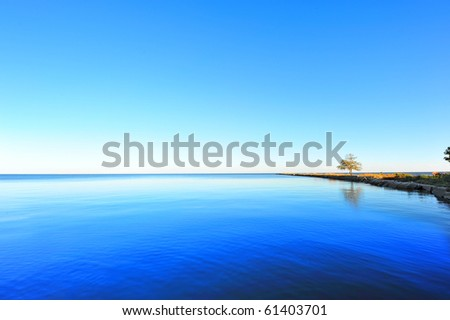 High Dynamic Range photo of a long jetty extending into the Chesapeake Bay, Maryland - stock photo