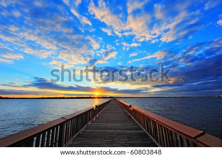High Dynamic Range photo of Fishing pier on the Chesapeake Bay, Maryland at sunset - stock photo