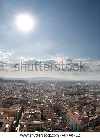 High dynamic Range photograph of Florence cityscape on a sunny day. - stock photo