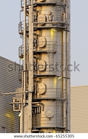 High Dynamic Ranger impression of a chemical installation in the Port of Rotterdam - stock photo