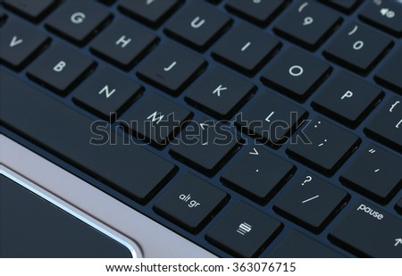 High end laptop computer black keyboard - stock photo
