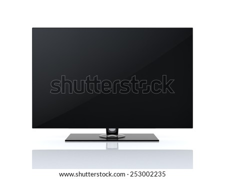 High-end widescreen led or lcd smart tv isolated on white