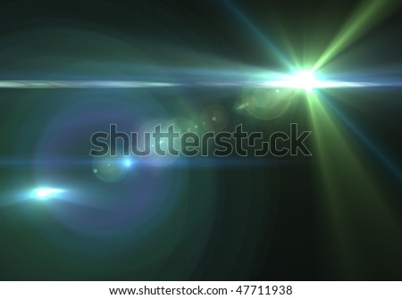 High energy discharge. Light rays.