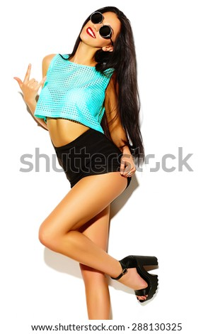 High fashion look. funny crazy glamor stylish sexy smiling beautiful young woman model in summer bright hipster cloth - stock photo
