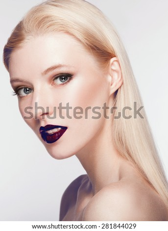 High fashion look.glamor beauty portrait of beautiful Caucasian young woman with bordo lips - stock photo