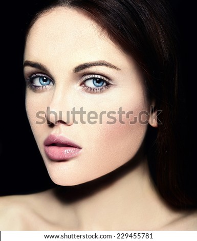 High fashion look.glamor closeup beauty portrait of beautiful   Caucasian young woman model with nude makeup   with perfect clean skin