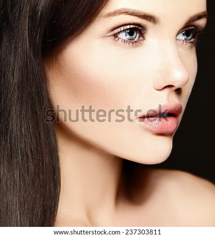 High fashion look.glamor closeup beauty portrait of beautiful   Caucasian young woman model with no makeup  with perfect clean skin - stock photo